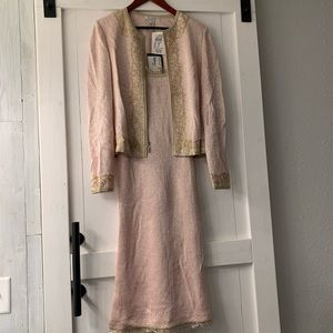 St. John pink and gold dress with jacket